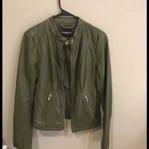 Express Olive Green Faux leather jacket size M